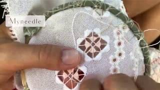 Filling stitch in hardanger embroidery.
