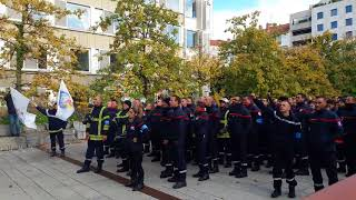 manif pompiers 001 Marseillaise devant palais justice vidéo