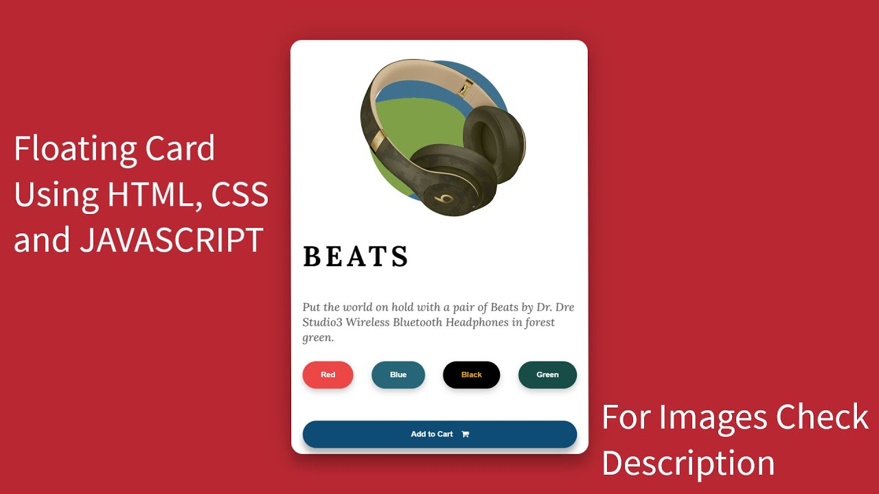 Floating Card Animation using HTML, CSS and JavaScript | Card Design
