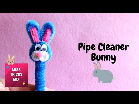 Pipe Cleaner Easter Bunny Pencil Topper | Pipe Cleaner Crafts.