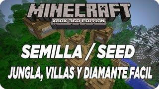 MineCraft Xbox360 - TU12 Semilla / Seed ¡Jungla, Villas y Diamante Facil!
