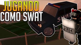playing as a SWAT with included car - Jailbreak (Beta) - ROBLOX