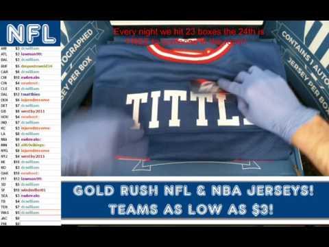 Gold Rush 2016 Autograph Football Jersey Box 3 Case 36 YA Tittle