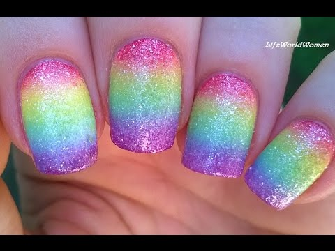 Sugar Effect Rainbow Nail Art Colorful Ombre Nails Idea Youtube