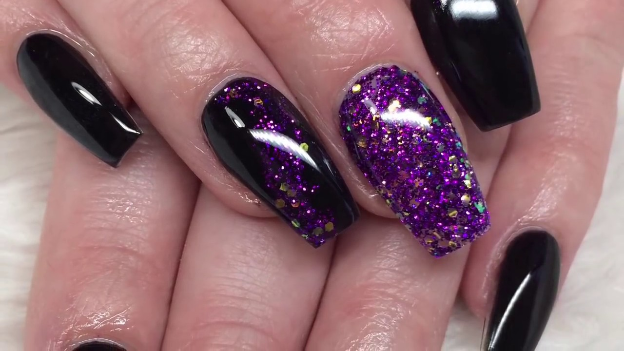 Acrylic nails | black and purple design - YouTube
