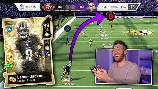 I threw this DOT with Golden Ticket Lamar Jackson -- Madden 20 Ultimate Team Gameplay