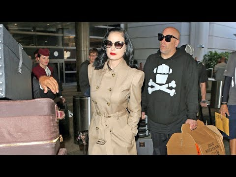 Dita Von Teese Sexy In Trenchcoat Arriving Home From Europe With A Ton Of Luggage
