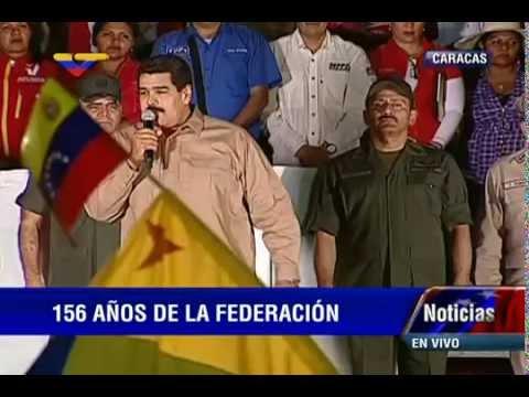 Acto completo con Presidente Nicolás Maduro e Historiados Luis Pellicer, 156 años Guerra Federal
