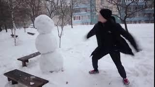 Как отп٭здить снеговика! Ахаха! Смешные видео 2016...