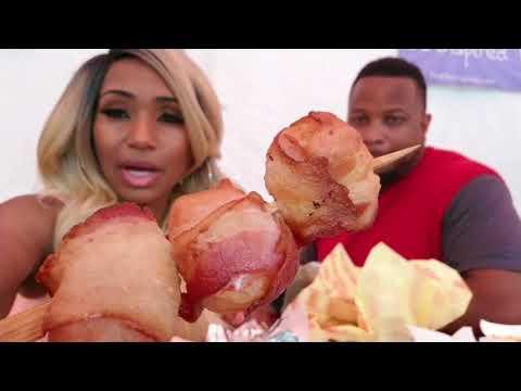 State Fair Foods/Deep Fried Veggies/Pork Chop and Bacon wrapped Shrimp on a Stick/Cinnimon Corn Dog