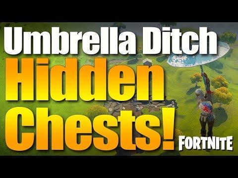 Fortnite Battle Royale Umbrella Easter Egg - Secret Underground Mine Treasure Chest Landing Spot