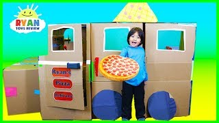 Download Ryan Pretend Play with Pizza Delivery Box Fort! Mp3 and Videos