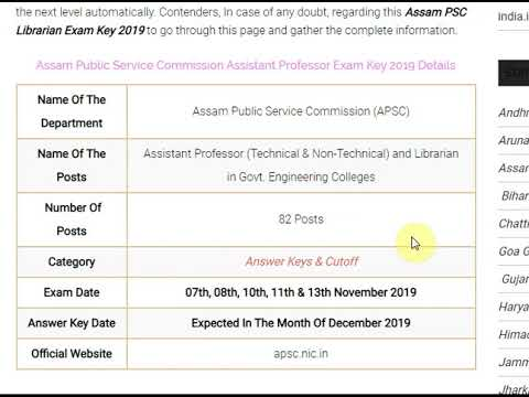APSC Assistant Professor Answer Key 2019