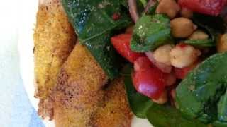 Lunch Date With Monique | Spinach Salad With Baked Cornmeal Coated Tilapia