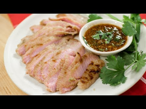 Thai BBQ Pork Jowl Recipe คอหมูย่าง นำ้จิ้มแจ่ว – Hot Thai Kitchen