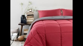 We are loving this Balichun Gel & Down  Queen Comforter, Wine Red and Grey