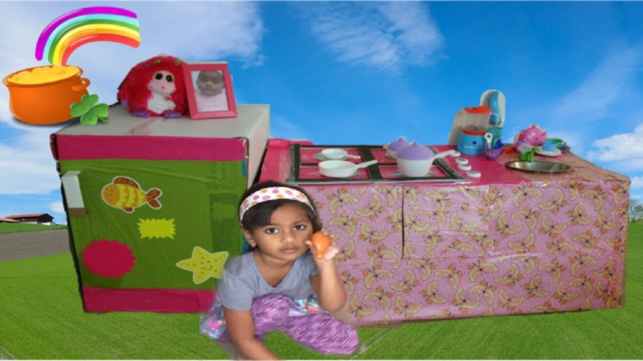 Cardboard Kitchen for Kids | DIY Play Kitchen Set with ...