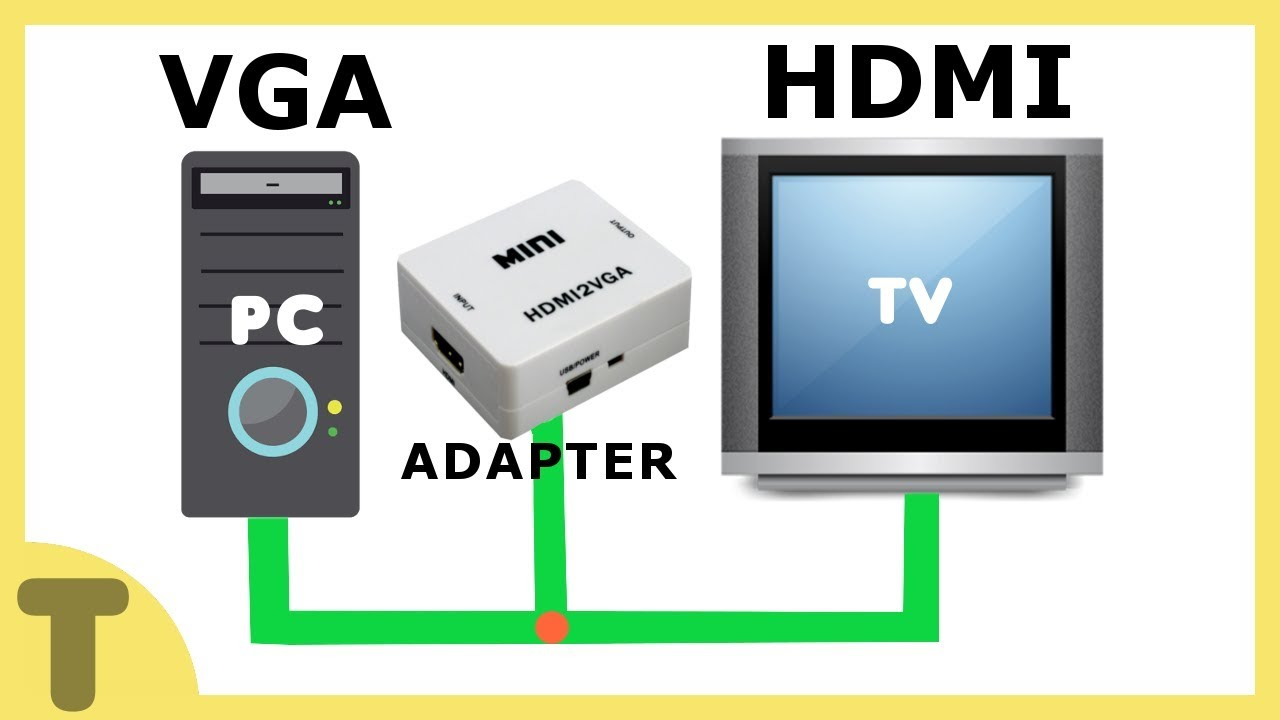 HOW TO CONNECT PC TO TV USING VGA TO HDMI ADAPTER ! - YouTube
