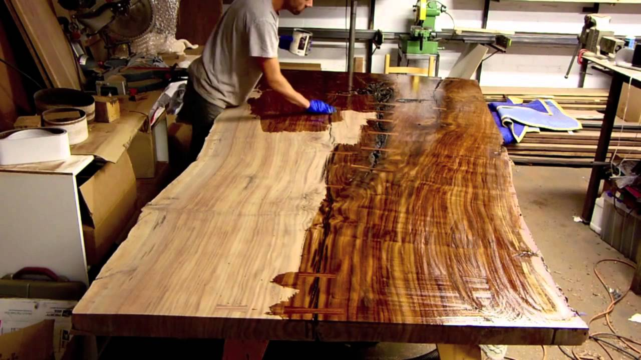 Finishing a massive claro walnut slab table live edge for How to finish a wood slab