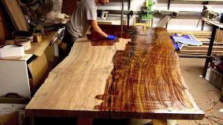 Finishing a Massive Claro Walnut Slab Table Live Edge