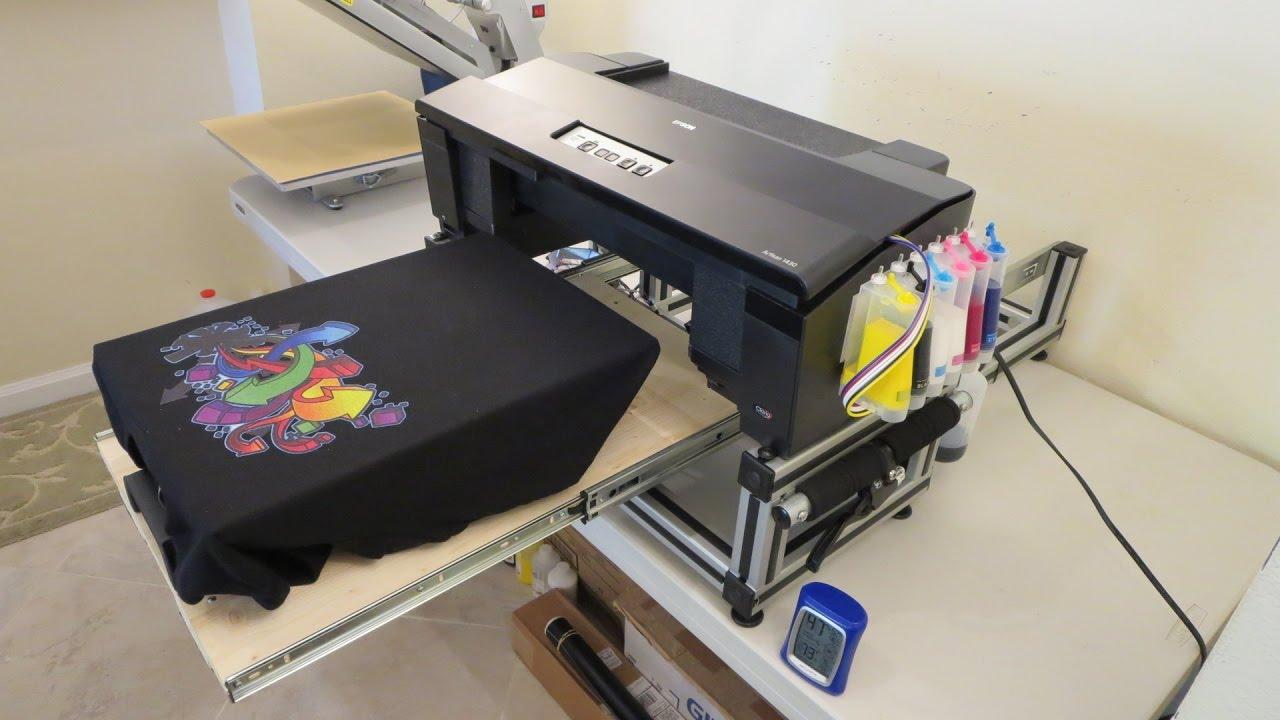 Epson 1430 nikko dtg v1 printing on dark t shirt youtube for Epson t shirt printer