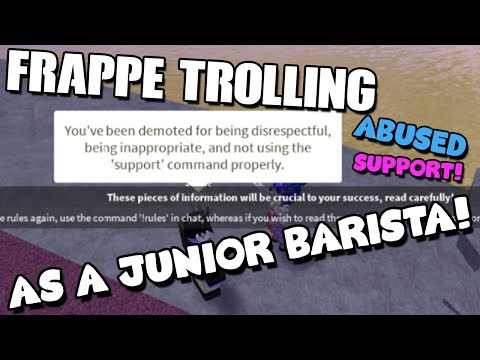 TROLLING AT FRAPPE AS A JUNIOR BARISTA! *FIRED*- ROBLOX TROLLING
