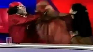 woman slaps om ji maharaj on live tv show in india   radhe maa   ibn7   live fight funny