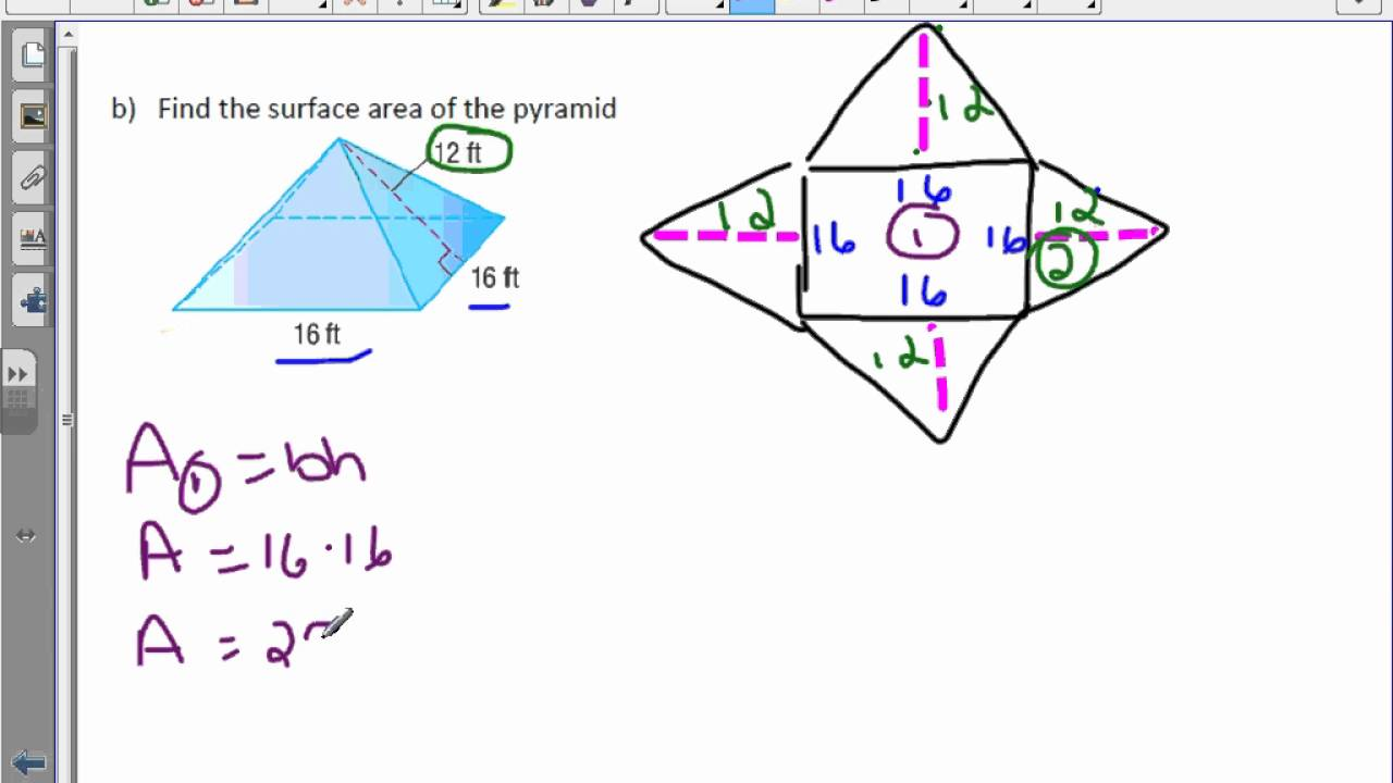 worksheet Surface Area Of A Pyramid 6th grade 10 5 surface area of pyramids youtube pyramids
