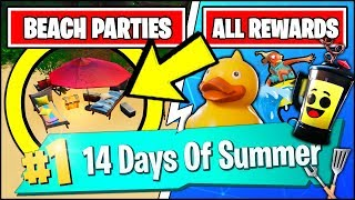 DANCE AT DIFFERENT BEACH PARTIES & *ALL* FREE REWARDS (Fortnite 14 Days Of Summer Challenges)