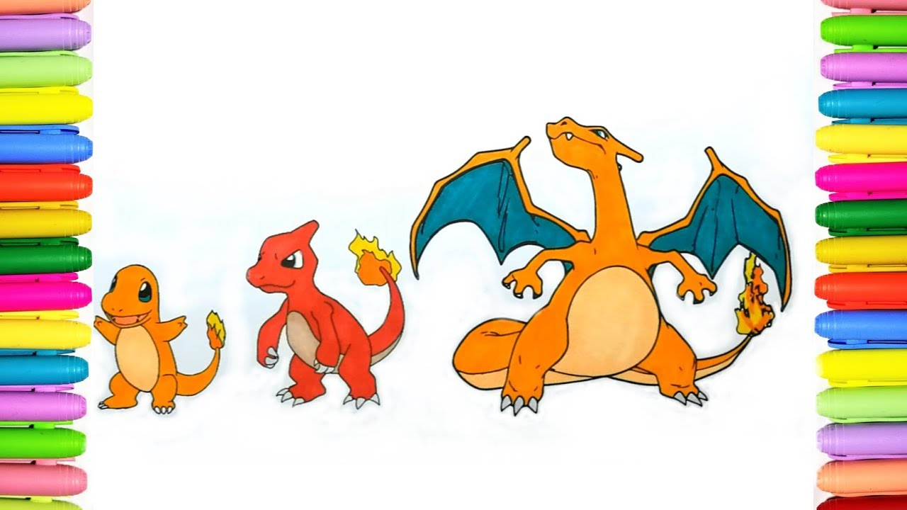 Pokemon Coloring Pages For Kids Charmander Charmeleon And