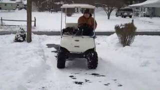 golf cart with lift kit chrome wheels and all terrain tires