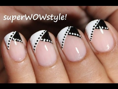 Black And White Nail Art In French Tip Manicure Youtube