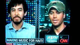 Mike Shinoda and Enrique Iglesias on Larry King Live - Donate To Download - Musicforrelief.org