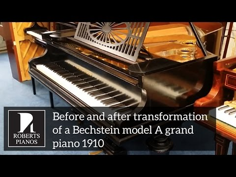 Before and after transformation of a Bechstein model A grand piano 1910