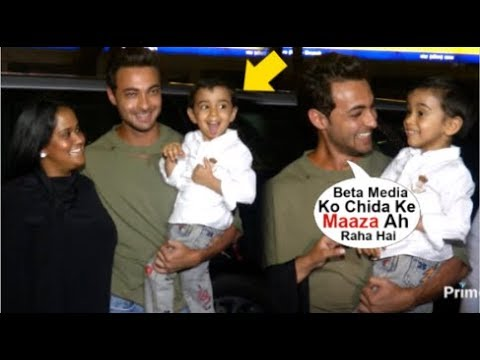 Salman Khan's Nephew Ahil Sharma Making FUNNY Face To Media When With Mommy Arpita & Dad Ayush Sharm