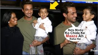 Salman Khan's Nephew Ahil Sharma Making FUNNY Face To Media When With Mommy Arpita & Dad Ayush Sharm