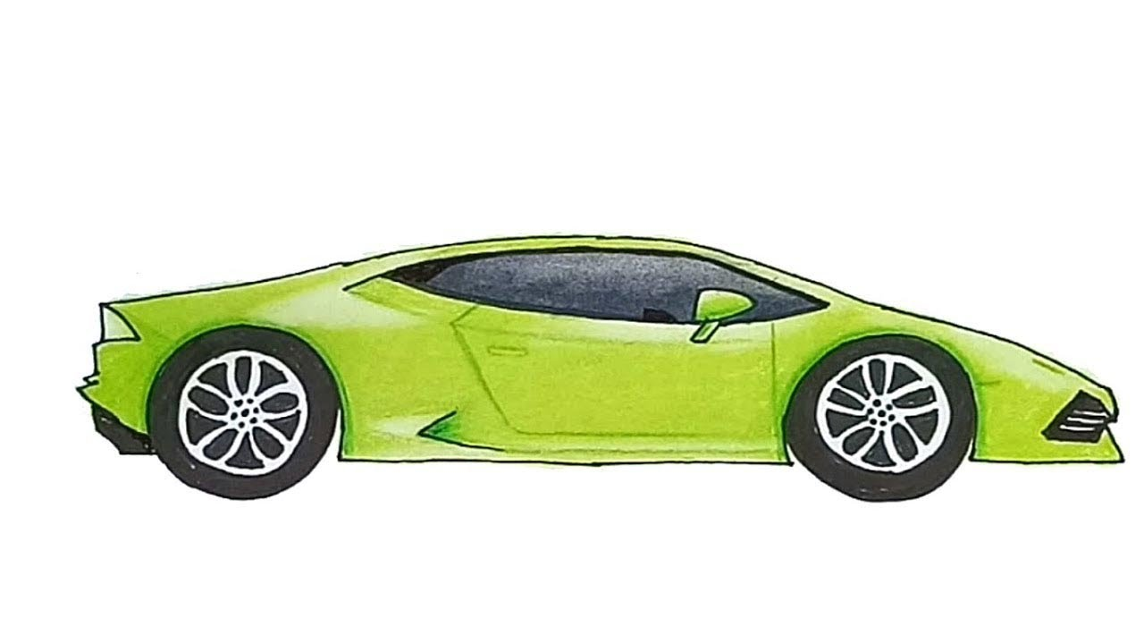 How To Draw A Car Lamborghini Huracan Step By Step Youtube