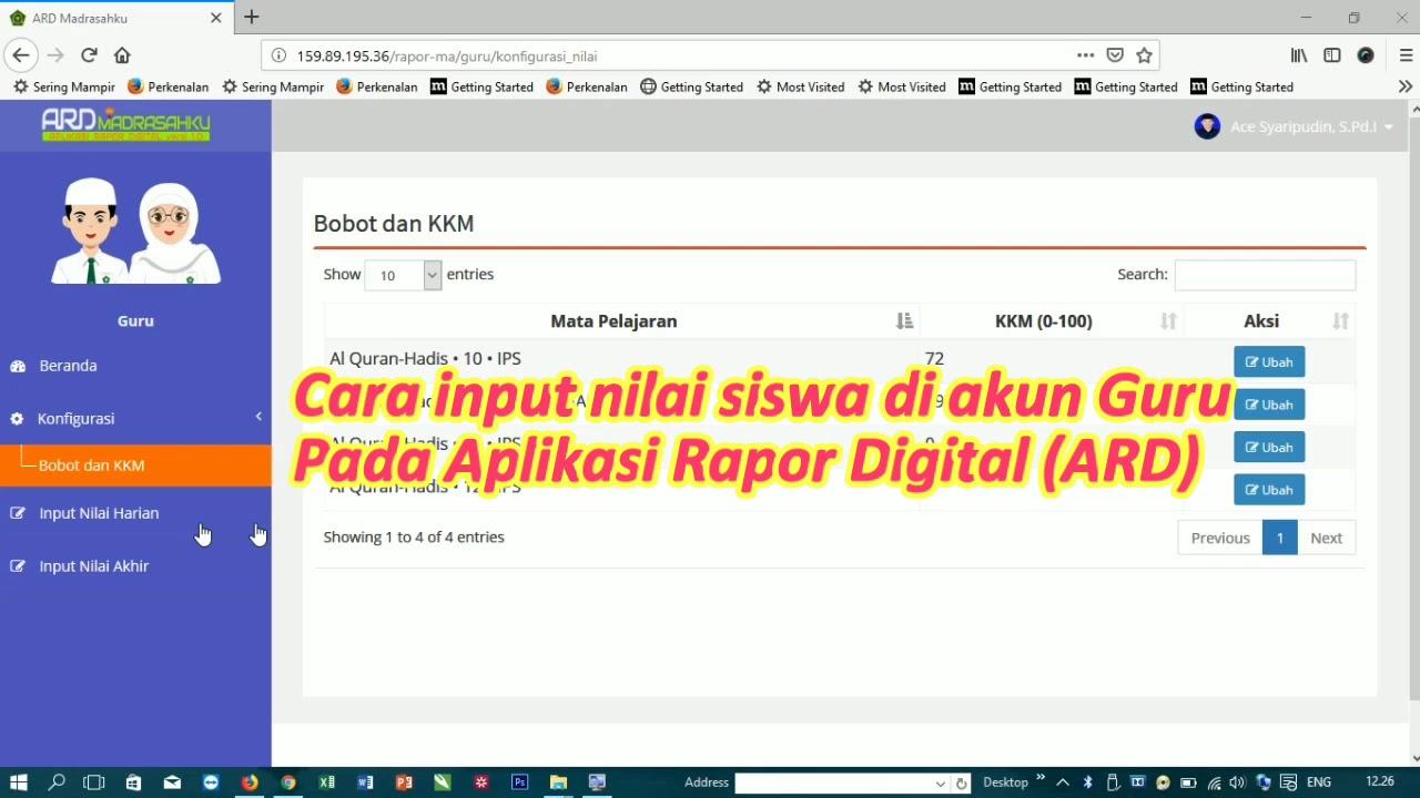 Cara input nilai Siswa di ARD - YouTube