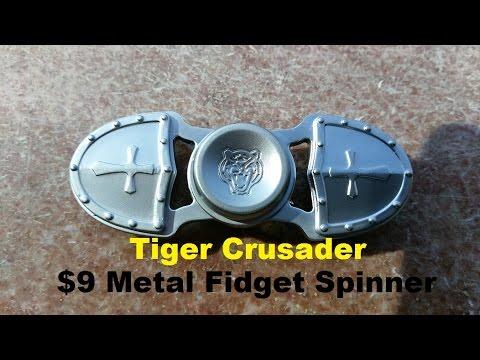 $9 Metal Fidget Spinner Tiger Crusader - Review and Demonstration
