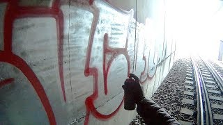 GRAFFITI - Throw Up Bombing - Train Route - Raw Footage - GoPro Action - SUCUK