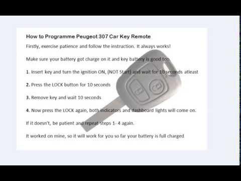 Car Key Programming >> How to programme Peugeot 307 car key remote - YouTube