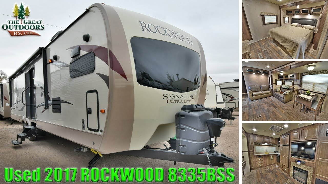 Front Kitchen Travel Trailer Countertop Inserts Used 2017 Rockwood 8335bss Trailers Rear Bedroom Sliding Glass Colorado Dealer