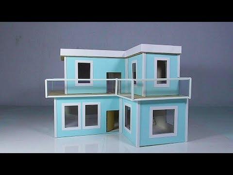 How To Make Cardboard Modern Miniature House With LED Light