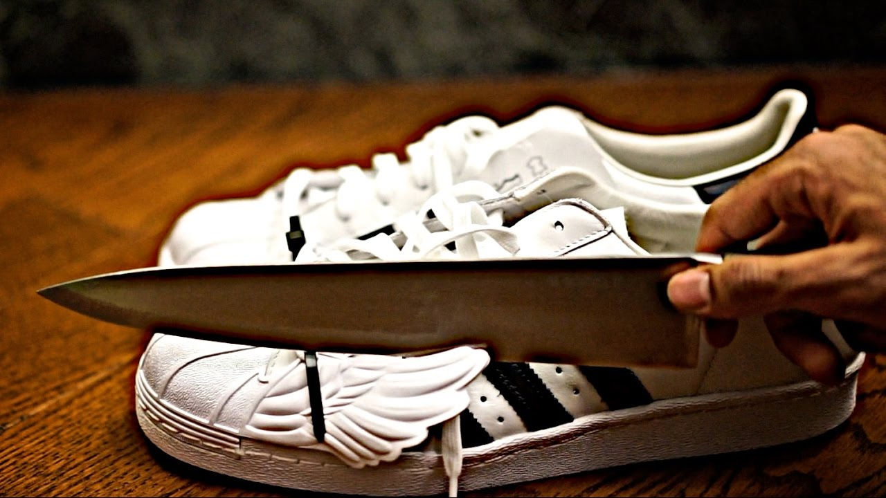 ec64c544adca Fire 1000 Degree Glowing Knife vs. Adidas Originals Jeremy Scott Superstar  Wings Shoe  - YouTube