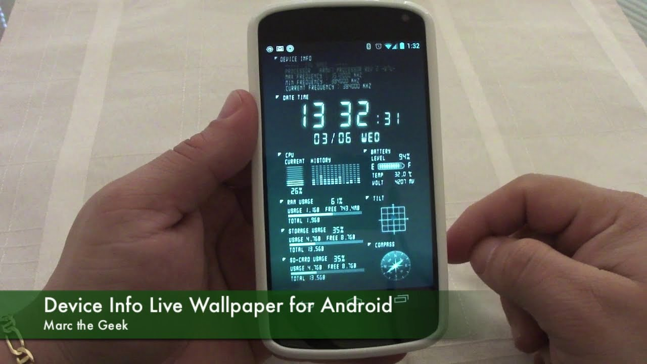 Device Info Live Wallpaper for Android - YouTube