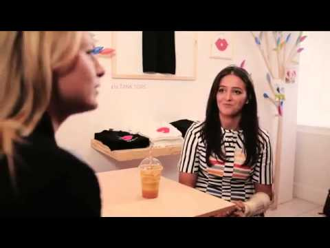 Maria Sharapova talks to Laura Robson at the Sugarpova Candy Lounge