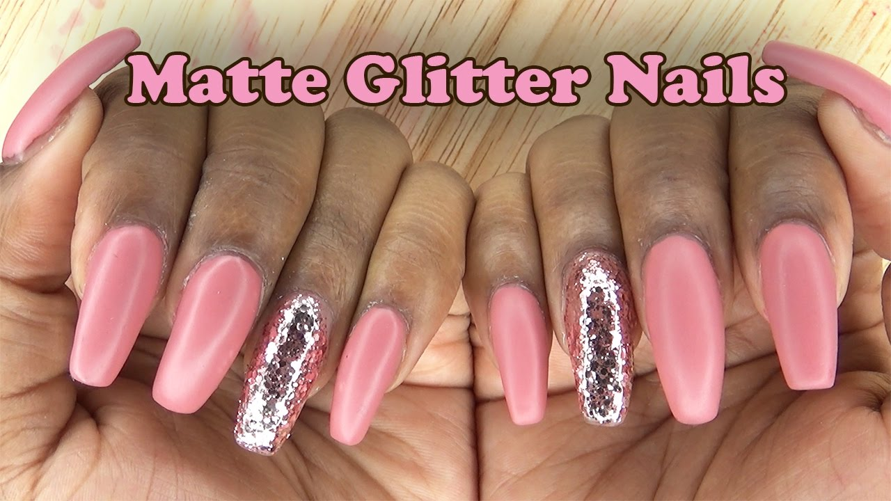 Acrylic Nails Matte Glitter Fill In Longhairprettynails