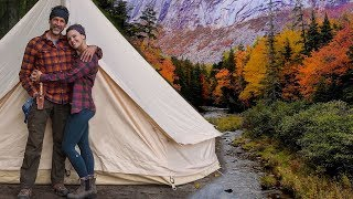 Off-Grid Solitude in a Canvas Cabin Tent / Wilderness Camping, Cooking on a Woodstove, Bushcraft