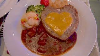 [1280 yen] Heart shaped Hamburg (Tokyo Disneyland)