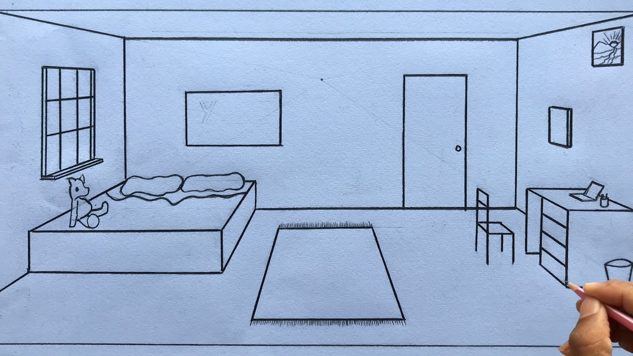 How To Draw A Room In 1 Point Perspective Step By Step For Beginners Youtube